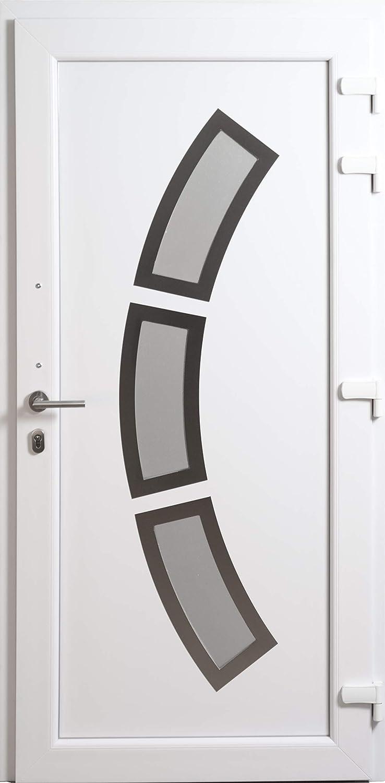 HORI/® Haust/ür Lille I Kunststoff Haust/üre mit Glaseinsatz I Wei/ß I Gr/ö/ße 2080 x 880 mm I DIN rechts