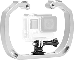 Mekingstudio Double-Arm Handheld Support Stabilizer Hand Grip Diving Underwater Photography Equipment With 1/4 Screw + Wrist Strap For GoPro Hero Session Xiaomi Yi SJCAM Sports Camera