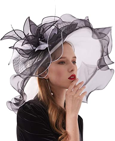 Black Silver Derby Hat Kentucky Derby Woman Hat Party Event Hat Tea Party Hat