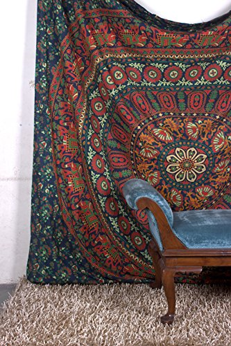Tapestry Queen hippie Flower Beautiful Artwork wall decor Mandala Beach BedSpread Intricate Indian Bedspread Tapestries 92x82 Inches Aakriti Gallery (Green Tapestry)