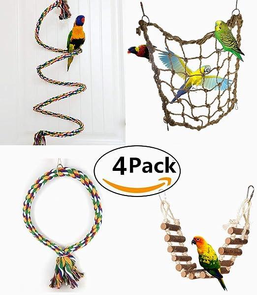 4 Piezas Juguetes para Pájaros para Masticar y Escalar Escalera Columpio Percas de Loros Pet Bird Parrot Bite Toy Swing Decoración Accesorios de Jaula para Pájaros Aves: Amazon.es: Productos para mascotas