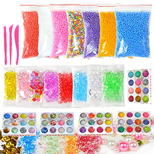 - Slime Supplies Kit, 78 Pack Slime Beads Charms, Include Fishbowl beads, Foam Balls, Glitter Jars, Fruit Flower Animal Slices, Pearls, Slime Tools for DIY Slime Making, Homemade Slime, Girl Slime Party