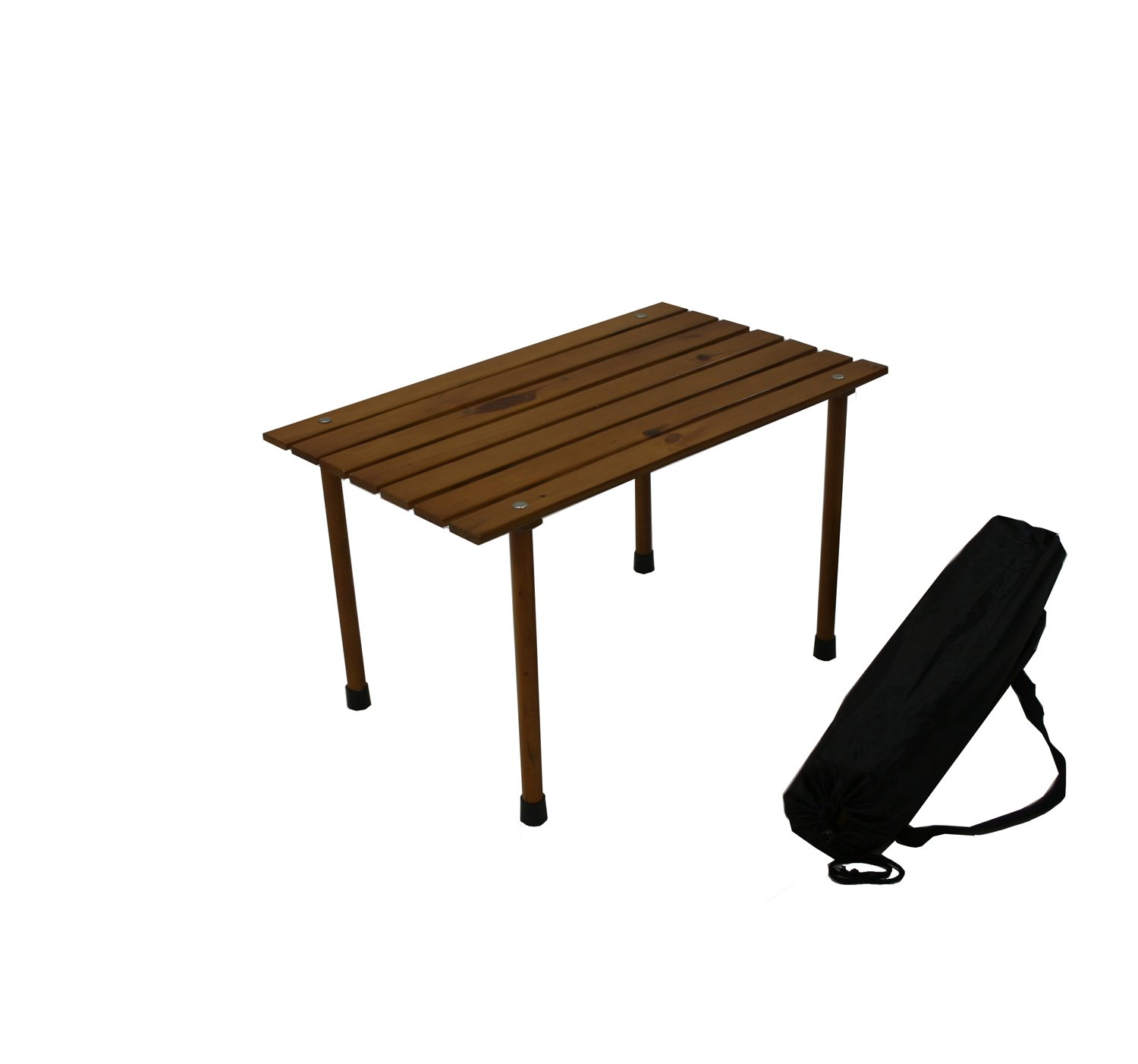 CDM product Table in a Bag LLW1527 Small Low Wood Portable Table with Carrying Bag, Brown small thumbnail image
