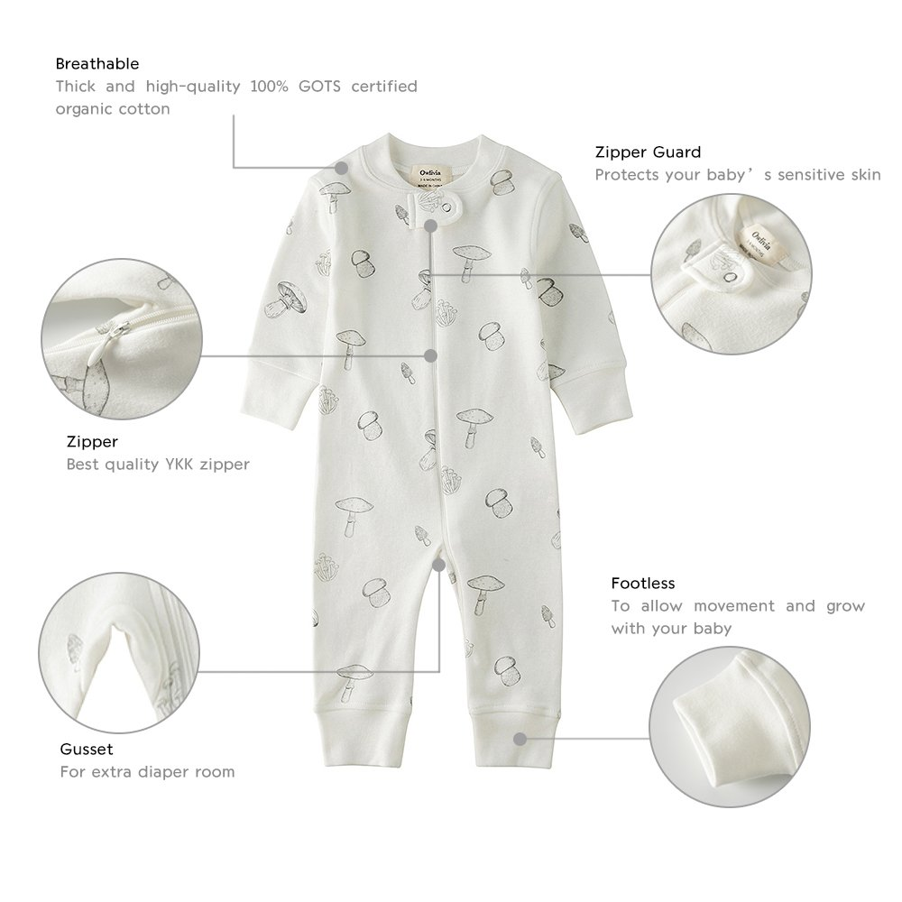 e27050ab6e Amazon.com  Owlivia Organic Cotton Baby Boy Girl Zip up Sleep N Play ...