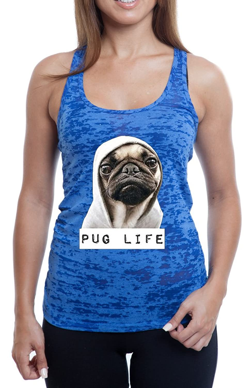 Women's Pug Life Funny Novelty Burnout TankTop