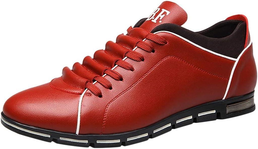 Vovotrade/_Zapatos de los hombres frescos Moda Masculina Estilo Deportivo brit/ánico Zapatos de Negocios Informales Cuero de los Hombres Deportes de Negocios Cabeza Redonda Plana