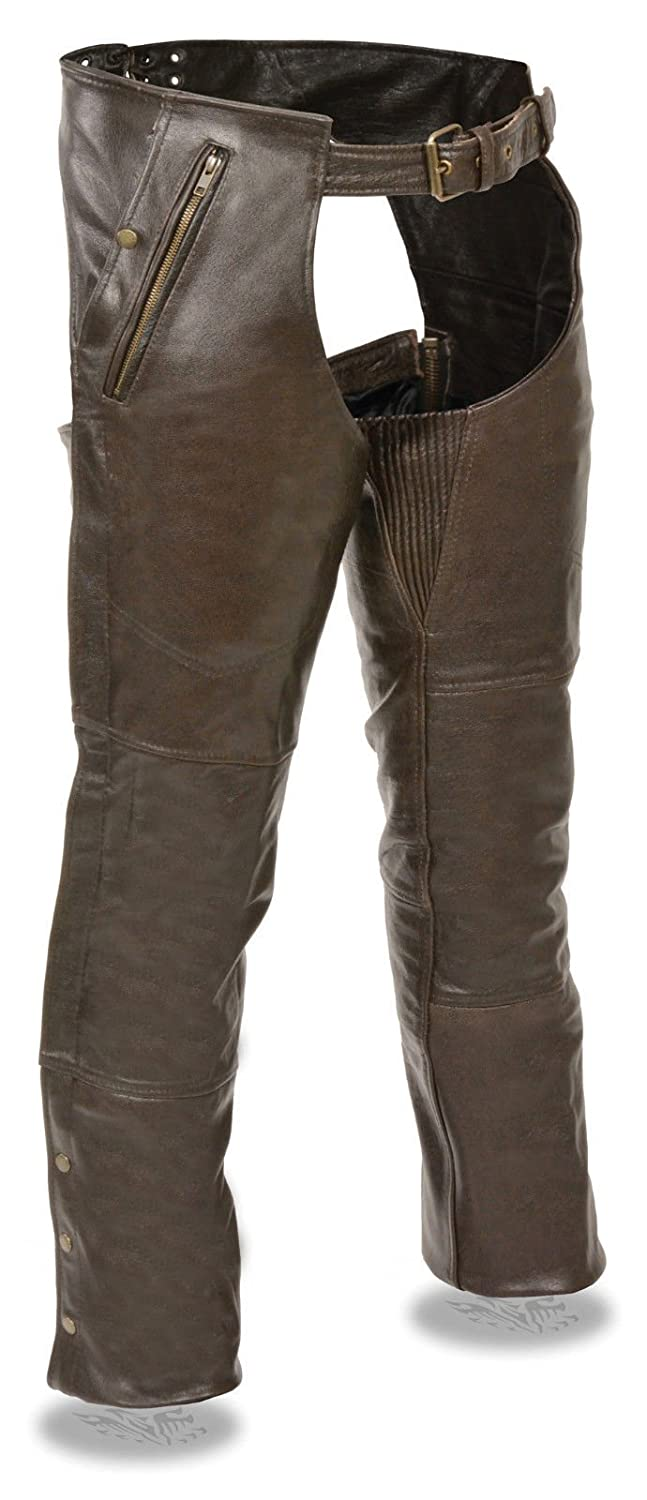 XL Regular MENS MOTORCYCLE RETRO BROWN SOFT LEATHER CHAP FULLY LINED W//4 POCKETS SNAP ZIP