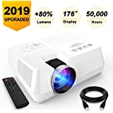 AMERTEER Mini Portable Projector, 2200 lumen Full HD LED Video Projector Compatible with HDMI, VGA, USB, AV, SD for Home Theater Entertainment (White) (White)