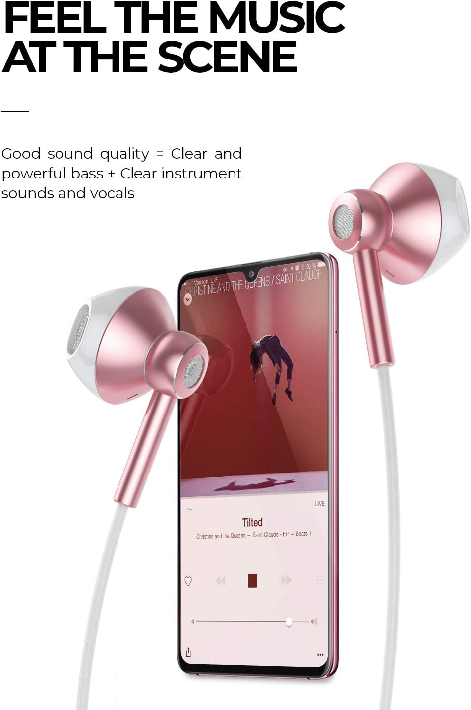 Linklike Classic 2 Quad Dynamic Drivers Deep Bass Half In-Ear Headphones with Microphone, Volume Control, Noise Isolating Lightweight 3.5mm Wired Earphones for Work, Commute, Sports Rose Gold White