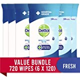 Dettol Antibacterial Disinfectant Surface Cleaning Wipes Fresh 720 (6 x 120s), 720 count, Pack of 6