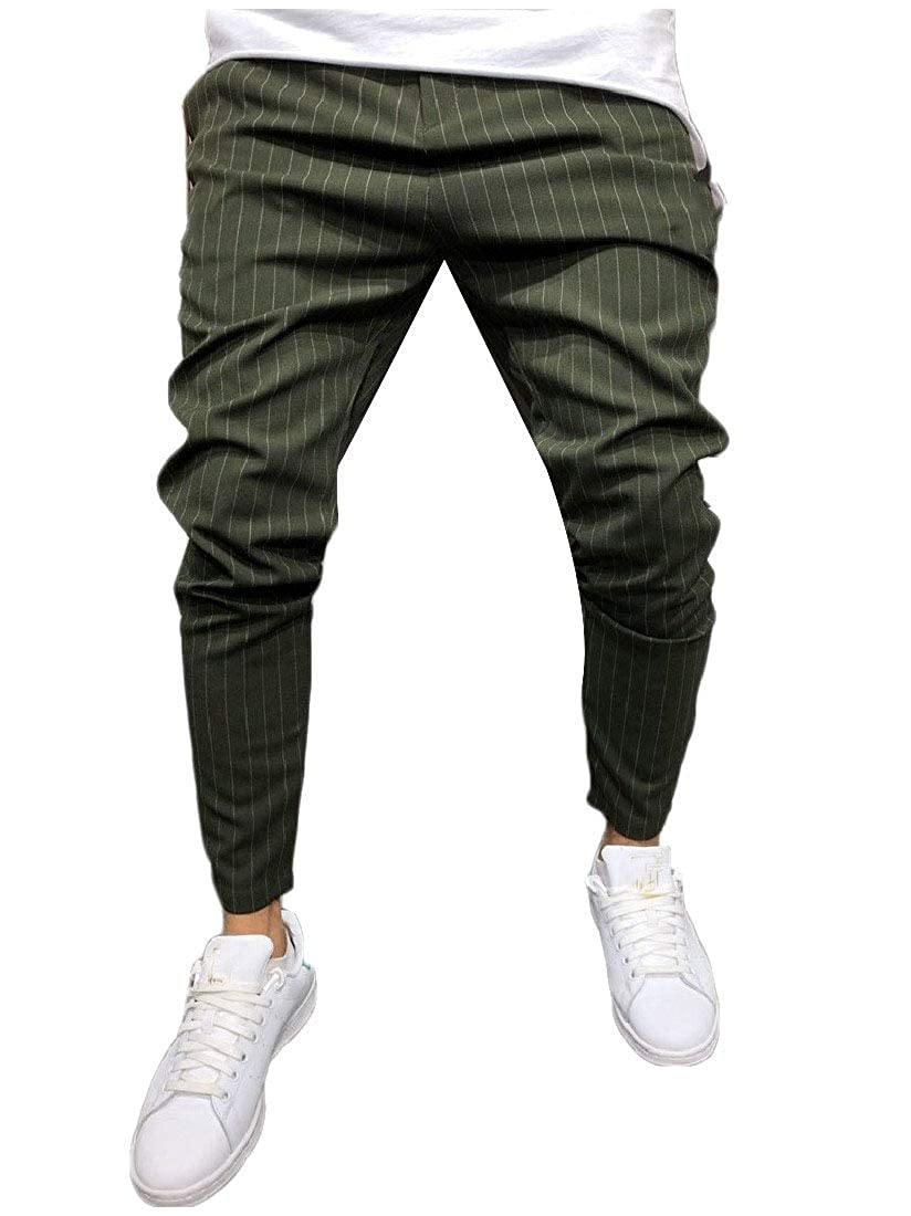 Abetteric Mens Fall Low Rise Tri-Color Stripe Leisure Beam Foot Jogger Pant