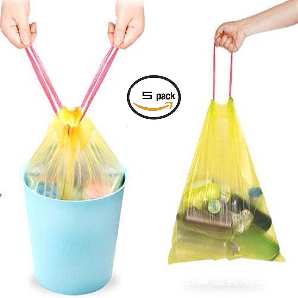 ドローストリングTrashバッグマルチカラーキッチンDrawstring Strong Multipurpose Garbage Bags forゴミ箱Garbage Bin (5ロール B07CVDR78P