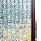 "Rabbitgoo 3D Decorative Privacy Window Film Static Cling Window Films No Glue Anti-UV Window Sticker for Home Office Kitchen Living Room 23.6"" x 78.7"" (60 x 200cm)"