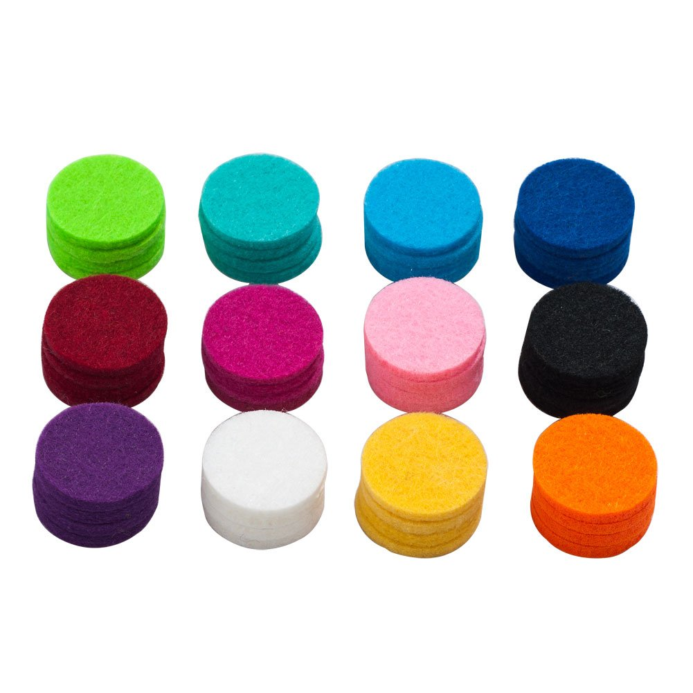 ThirdTimeCharm 12 Colors Essential Oil Diffuser Locket Necklace Refill Pads Aromatherapy Diffuser Necklace Replacement Pads (48 Pcs)
