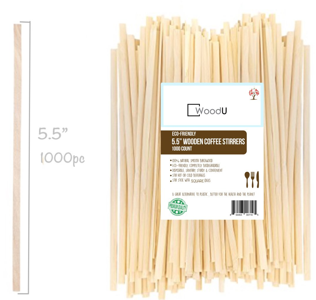 """Wooden Coffee Beverage Stirrers, Square Coffee Stir Sticks 5.5""""(1000ct) Eco-Friendly Completely Biodegradable, Coffee Stirrers For Hot & Cold Beverages as Coffee & Tea, Alternative to Plastic Stirrers"""