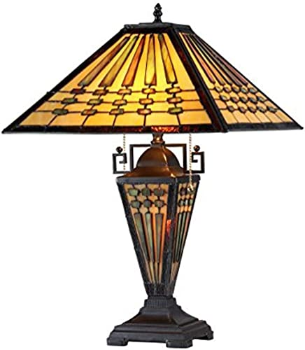Chloe Lighting CH33215MG16-DT3 Chadrick Tiffany-Style Mission 3-Light Double Lit Table Lamp