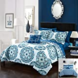 120 quilt backing - Chic Home 3 Piece Madarcos Super soft microfiber Large Printed Medallion REVERSIBLE with Geometric Printed Backing Twin Quilt Set Blue