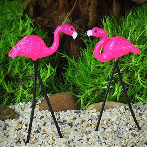 Miniature Garden Retro Flamingo Pair Fairy Faerie Hobbit Gnome Garden GO 16813 – My Mini Fairy Garden Dollhouse Accessories for Outdoor or House Decor