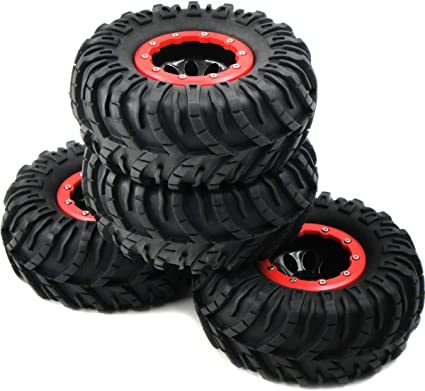 4pcs RC Crawler Tires Rubber Grappler Tires Plastic Wheel with Rubber Tyre for RC Car