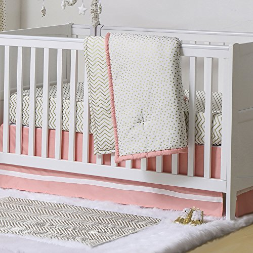 Gold Dot and Chevron Zig Zag 3 Piece Baby Crib Bedding Set with Coral Pink