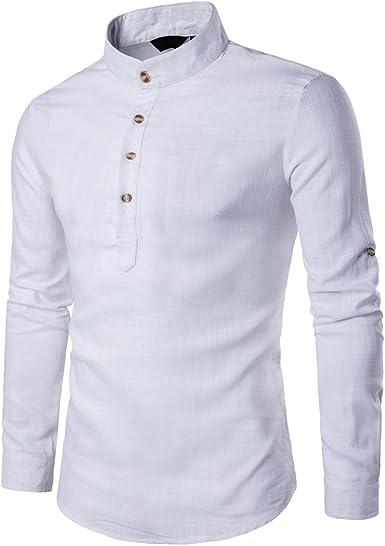 Verravant - Camisa para hombre (manga larga, lino, cuello delgado) blanco S: Amazon.es: Ropa y accesorios
