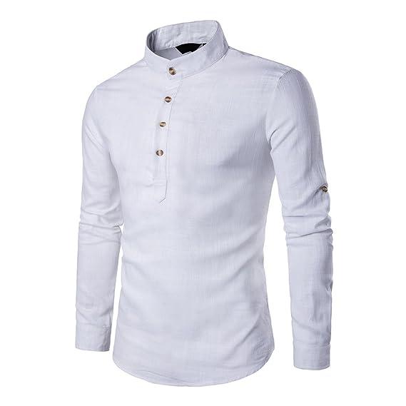 Veravant Chemise Homme Unie Manche Longue Lin Col Mao Slim Fit - Blanc -  Taille S d09aa5d41021