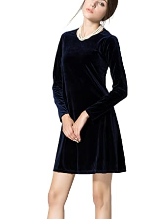 65ab64ec80 K S Women s New A-Line Loose Crewneck Print Casual Velvet Dress ...