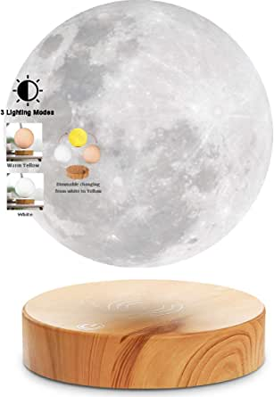 VGAzer Levitating Moon Lamp With Wood Base and 3D Printing Technology Floating and Spinning in mid-air Freely for Unique GiftsRoom DecorNight LightOffice Desk Toys (White)