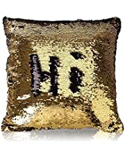 MOCOFO Black and Gold Sequin Pillow, Reversible Glitter Sequins Cover Magic Mermaid Fish Pillowcase Parkly Fun Flip Throw Pillow Cover Couch Cute Color Changing Decor Cushion Covers for Sofa16X16