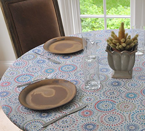 Elastic Flannel Backed Vinyl Fitted Table Cover MULTI-COLOR GEOMETRIC Pattern - Oblong - Fits Oblong Tables up to 48