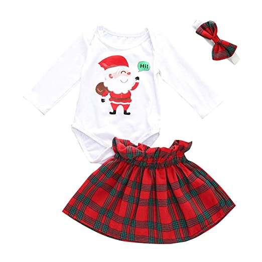 644a6eb79 Amazon.com: 3Pcs Christmas Toddler Baby Girls 3-24 Months Cartoon Santa  Print Romper+Skirt+Headbands Set: Clothing