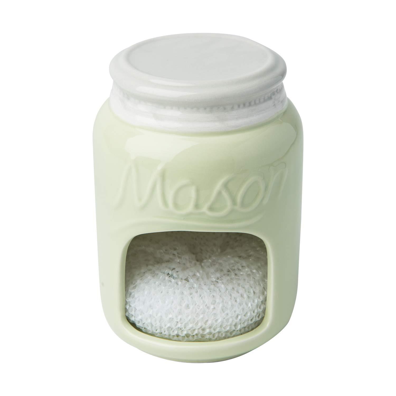 Ceramic Kitchen Sponge Holder Sink Caddy – Kitchen Décor And Accessories Farmhouse Style - Country Kitchen Sink Décor Rustic– Mason Jar Décor Sponge Holder – Scrubby Holder- Green