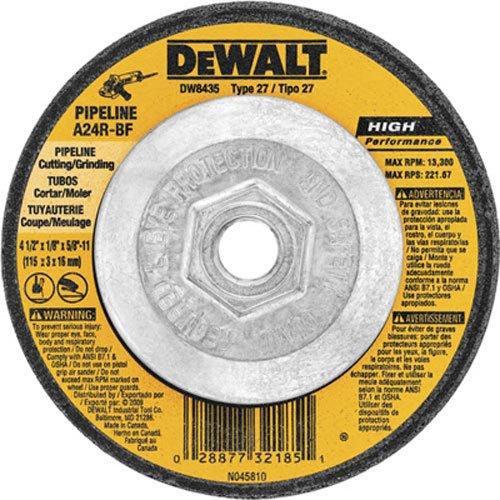 DEWALT DW8435 4-1/2-Inch by 1/8 Inch by 5/8-Inch -11 Pipeline Cutting/Grinding Wheel
