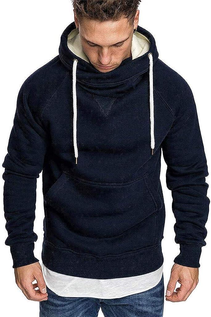 KUDICO Mens Hoodie Casual Turtleneck Collar Round Neck Drawstring Solid Long-Sleeved Tops Hooded Sweatshirts