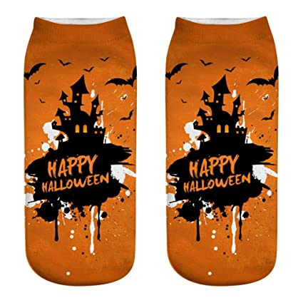 20391e27a38ee SUKEQ Women No Show Socks Halloween Fancy Design Pumpkin Crew Socks Low Cut  Athletic Cotton Sport