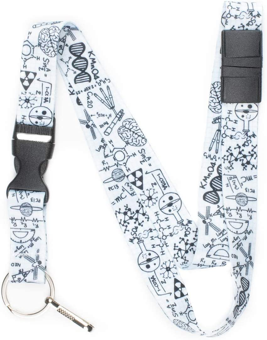 Limeloot STEM Math Science Graphing Paper Premium Lanyard with Breakaway, Release Buckle, and Flat Ring.