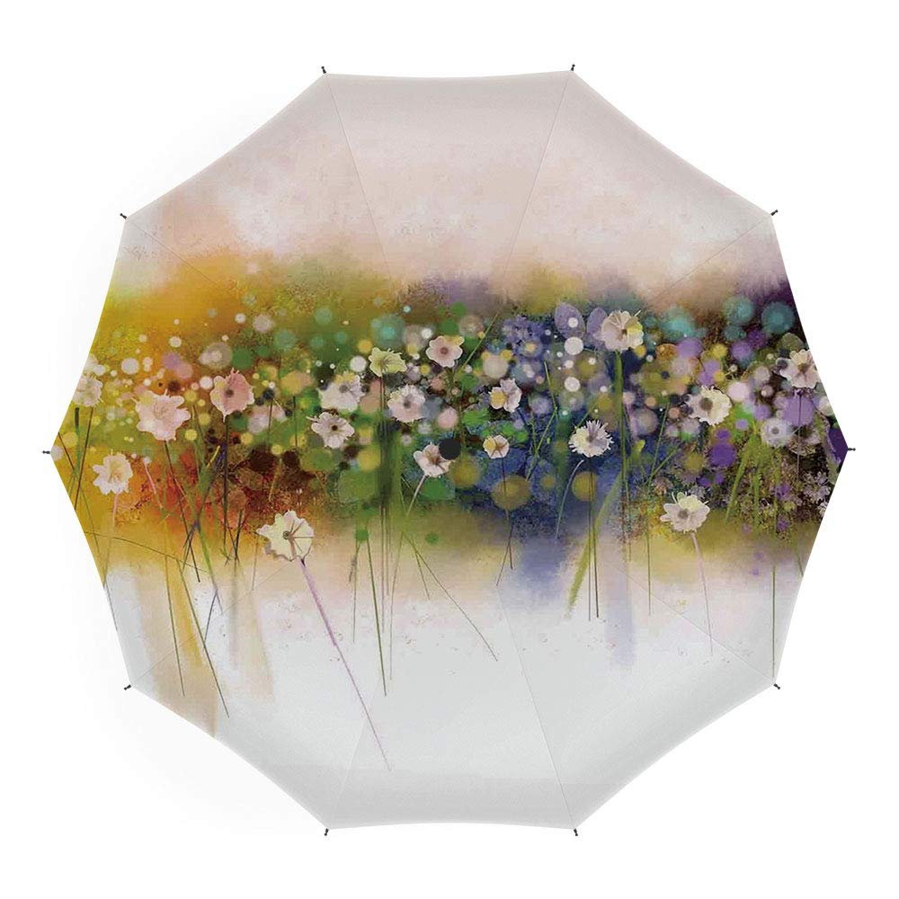 Umbrellas Compact Travel Umbrella Auto Open Close, Watercolor Flower House Decor, Auto Open Close Umbrella 45 Inch, Fresh Curly Willow and Dahlia Floral Summer Buds Pollen Print HongKong Fudan Investment Co. Limited Travel Umbrella-L-15406
