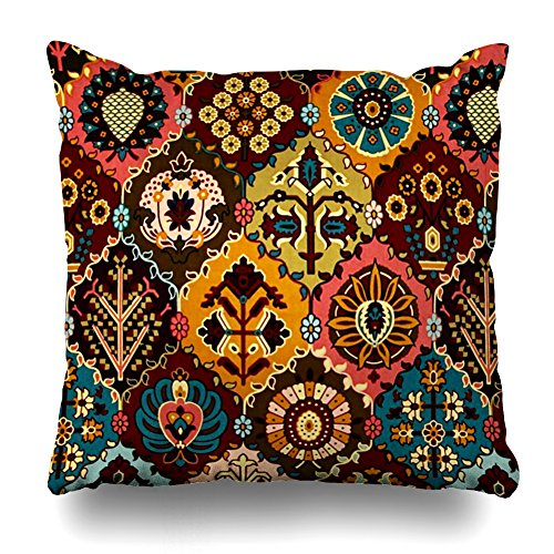 (ONELZ Bohemian Style Ensemble Set Square Decorative Throw Pillow Case, Fashion Style Zippered Cushion Pillow Cover £¨18 x 18 inch£)