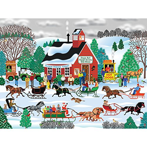 Bits and Pieces - 300 Piece Jigsaw Puzzle for Adults - Jingle Bell Sleigh Society - 300 pc Horse Sleigh Riding Jigsaw by Artist Mark Frost