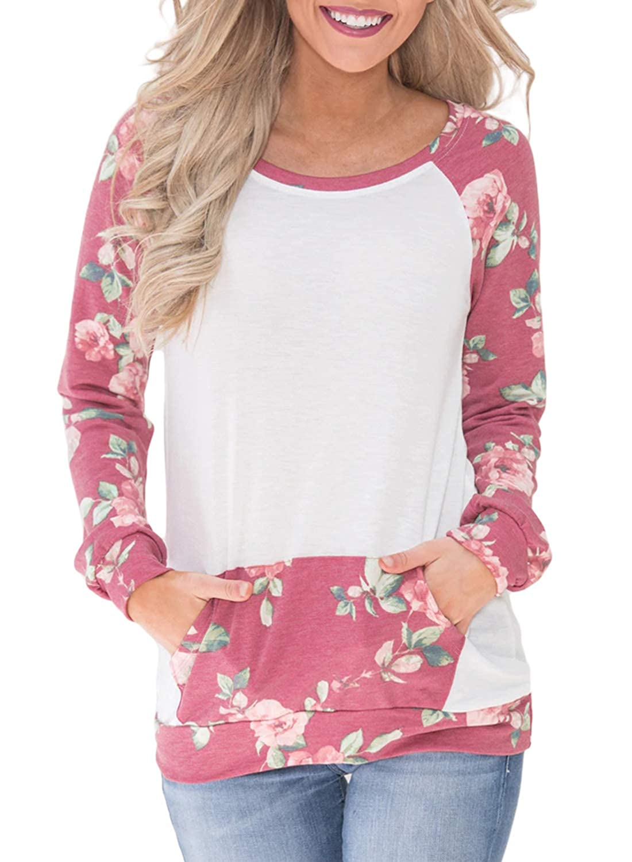 c745c6b80f Ecrocoo Women's Sweatshirt Casual Long Sleeve Floral Print T Shirt Kangaroo  Pocket Blouses Top