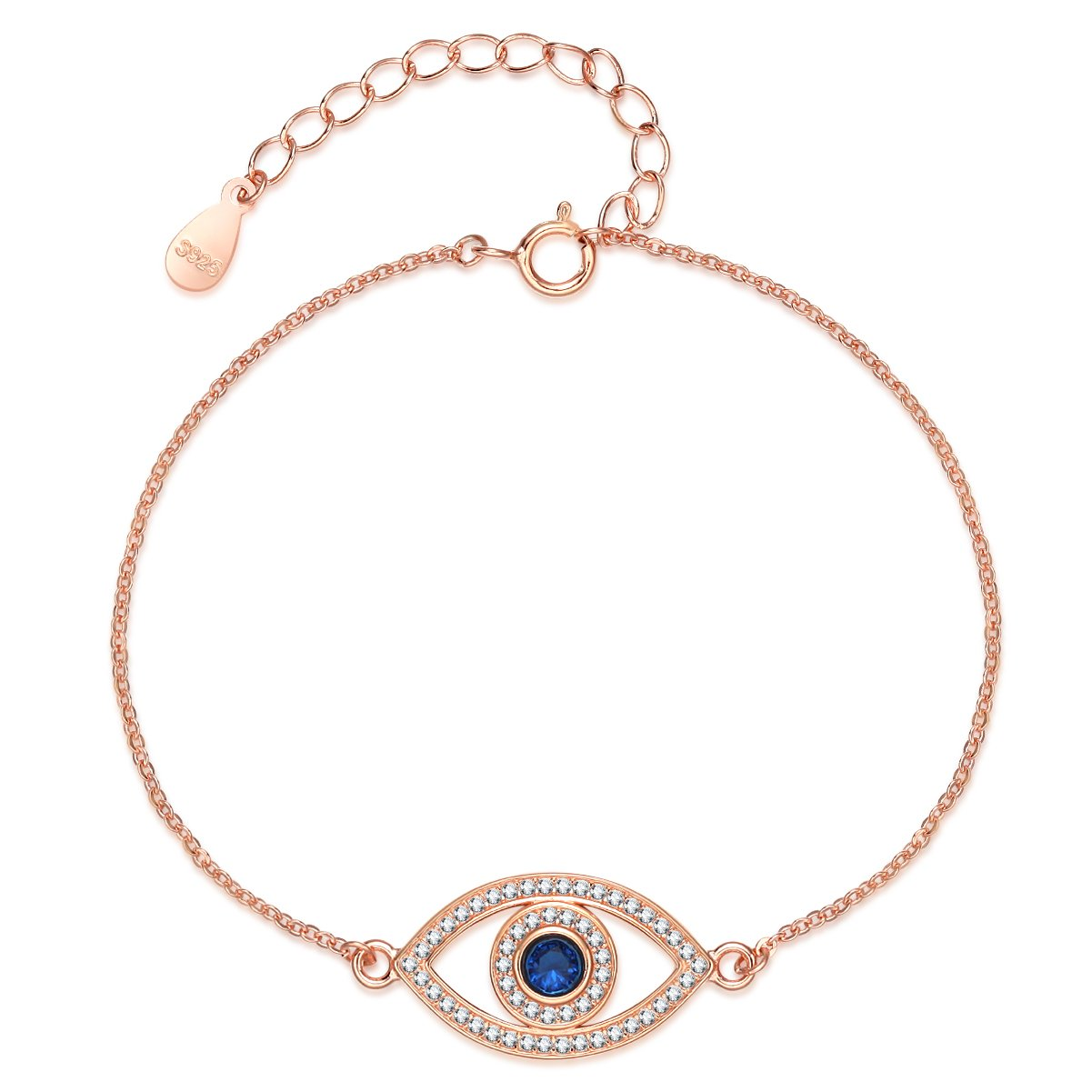 Satioter&Gasttini Sterling Silver Elegant Luckily Evil Eye Adjustable Bracelet For Women (Rose Gold)