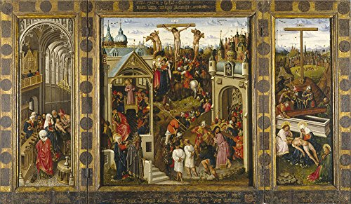 The High Quality Polyster Canvas Of Oil Painting 'Alincbrot Louis Passages From The Life Of Christ Or Crucifix Triptych 1440 50 ' ,size: 20 X 34 Inch / 51 X 87 Cm ,this High Resolution Art Decorative Prints On Canvas Is Fit For Study Decoration And Home Gallery Art And Gifts