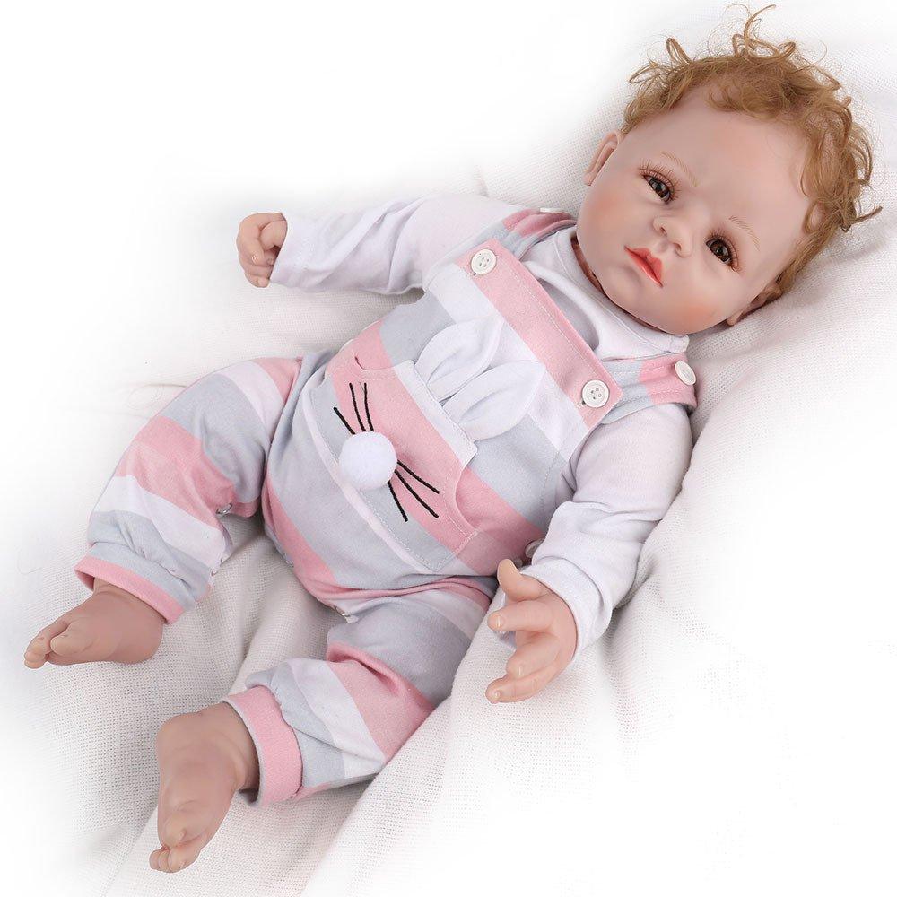 CHENGXX Simulazione Bambino Bambola in Silicone Morbida E Carina Bambini Che Giocano con Il Compagno Addormentato Bambola Fatta A Mano in Vinile di Silicone Giocattoli per Bambini