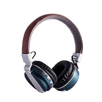 yanzi Auriculares Inalámbricos Inalámbricos Bluetooth Headset para Música Estéreo para Juegos Montados En La Cabeza,Blue: Amazon.es: Jardín