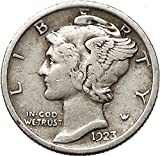 Mercury Winged Liberty Head 1923 Dime United States AR Coin Fasces i43111