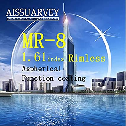 7dd72e0f7a55c Generic Blue   1.61 index optical lenses MR-8 trimming lens rimless frame  special lenses aspherical function coating Diamond- studded trivex   Amazon.in  ...