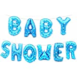 """Rzctukltd Baby Shower Oh Baby It's a Boy/Girl 16"""" Foil Letter Balloon Party Banner +String (16"""" Baby Shower Blue Balloons Set)"""