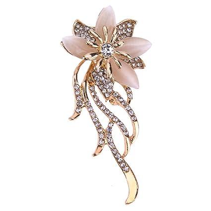 magasin en ligne e53ec 8d3f1 La Cabina Cristal Strass Broche -Broche Mariage -Broche Décoré Vêtement et  Festival Bijoux Multicolore Fleur (fleur 01)