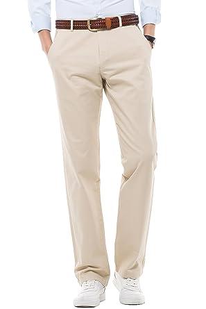 b16c11ec86 Ihomepark Pantalones Casuales para Hombres Algodón - Corte Recto ...