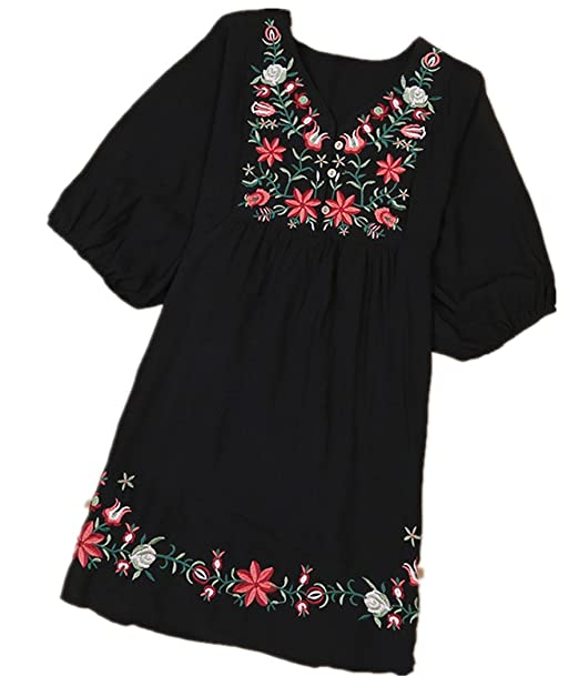 8eeb094e6f137 Kafeimali Summer Dress V Neck Mexican Embroidered Peasant Women's Dressy  Tops Blouses (Black)
